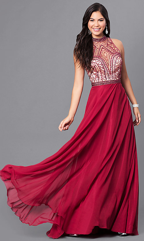 Image of burgundy red open-back long prom dress with beading. Style: DJ-A4747 Front Image