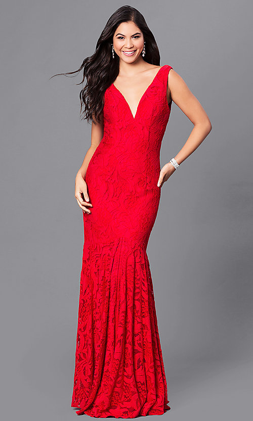 Open-Back Dave and Johnny Long Red Lace Prom Dress