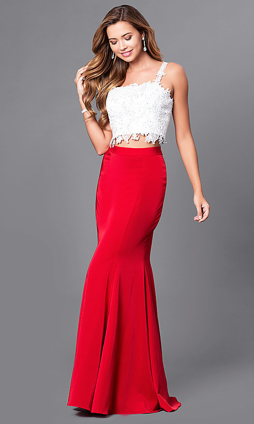 Image of long square-neck two-piece mermaid prom dress.  Style: DJ-A4882 Front Image