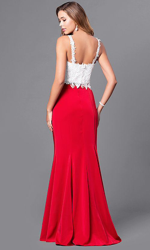 Image of long square-neck two-piece mermaid prom dress.  Style: DJ-A4882 Back Image