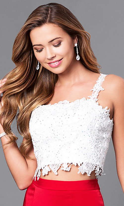 Image of long square-neck two-piece mermaid prom dress.  Style: DJ-A4882 Detail Image 1