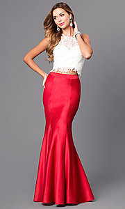 Image of two-piece Dave and Johnny long formal dress.  Style: DJ-A4979 Front Image