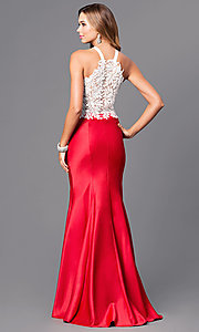 Image of two-piece Dave and Johnny long formal dress.  Style: DJ-A4979 Back Image