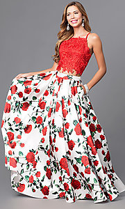 Image of two-piece print prom dress with lace top and pockets. Style: DJ-A5265 Front Image