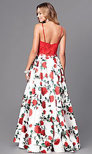 Image of two-piece print prom dress with lace top and pockets. Style: DJ-A5265 Back Image