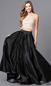 Image of Dave and Johnny two-piece long satin prom dress. Style: DJ-A5268 Front Image