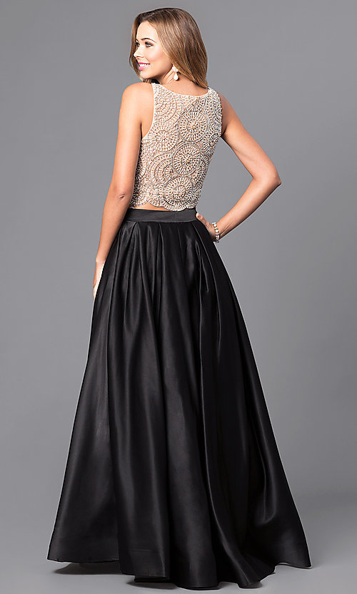 Image of Dave and Johnny two-piece long satin prom dress. Style: DJ-A5268 Back Image