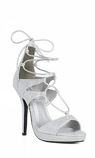 Lace Up Silver Shimmer Prom Shoes