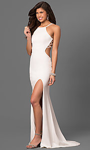 Image of La Femme long prom dress with strappy open back.  Style: LF-24443 Detail Image 1