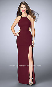 Image of La Femme long prom dress with strappy open back.  Style: LF-24443 Front Image