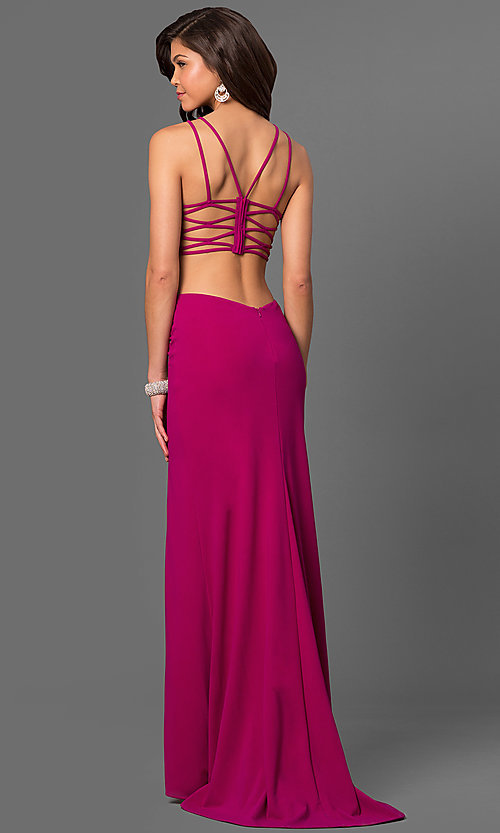 Image of La Femme long prom dress with strappy open back.  Style: LF-24443 Back Image