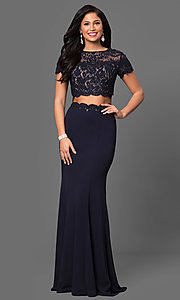 Image of two-piece prom dress with short-sleeve crop top. Style: LF-23912 Front Image