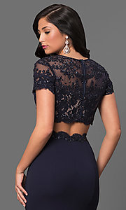 Image of two-piece prom dress with short-sleeve crop top. Style: LF-23912 Detail Image 1