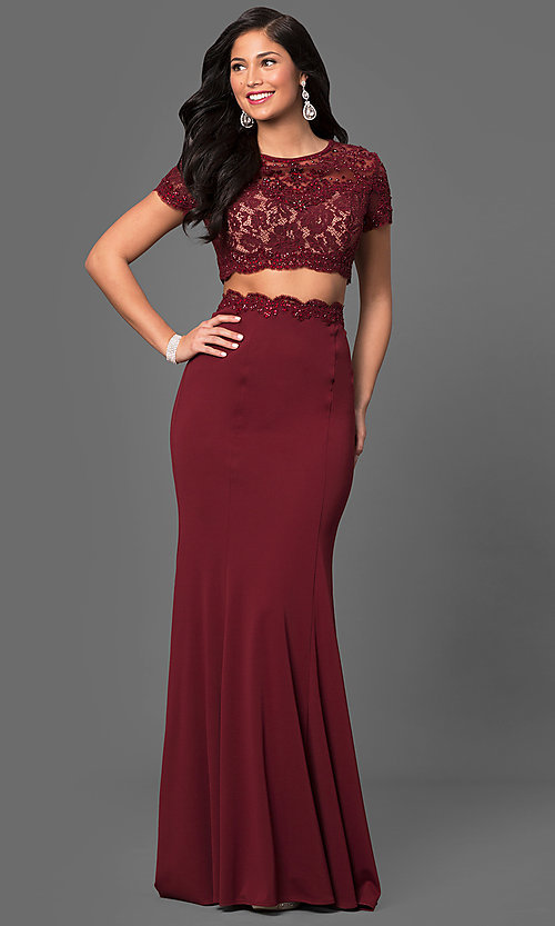 Image of two-piece prom dress with short-sleeve crop top. Style: LF-23912 Detail Image 2