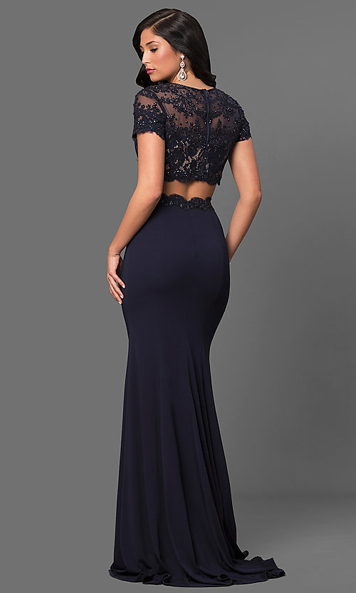 Image of two-piece prom dress with short-sleeve crop top. Style: LF-23912 Back Image