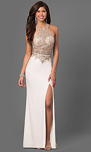 Image of long prom dress with beaded sheer-illusion bodice. Style: LF-23852 Front Image