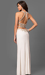 Image of long prom dress with beaded sheer-illusion bodice. Style: LF-23852 Back Image