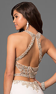 Image of long prom dress with beaded sheer-illusion bodice. Style: LF-23852 Detail Image 2