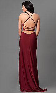 Image of open-back long formal dress with side cut outs. Style: LF-24380 Back Image