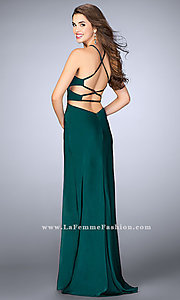 Image of open-back long formal dress with side cut outs. Style: LF-24380 Detail Image 2