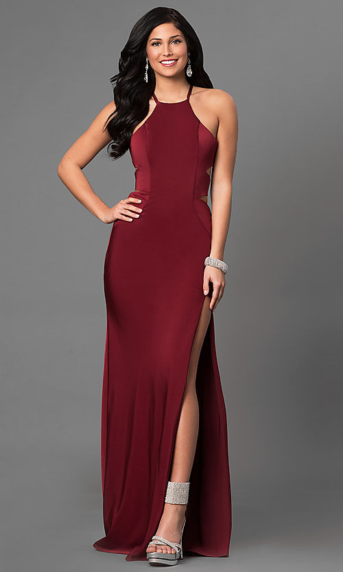 Image of open-back long formal dress with side cut outs. Style: LF-24380 Front Image