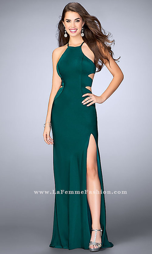 Image of open-back long formal dress with side cut outs. Style: LF-24380 Detail Image 3