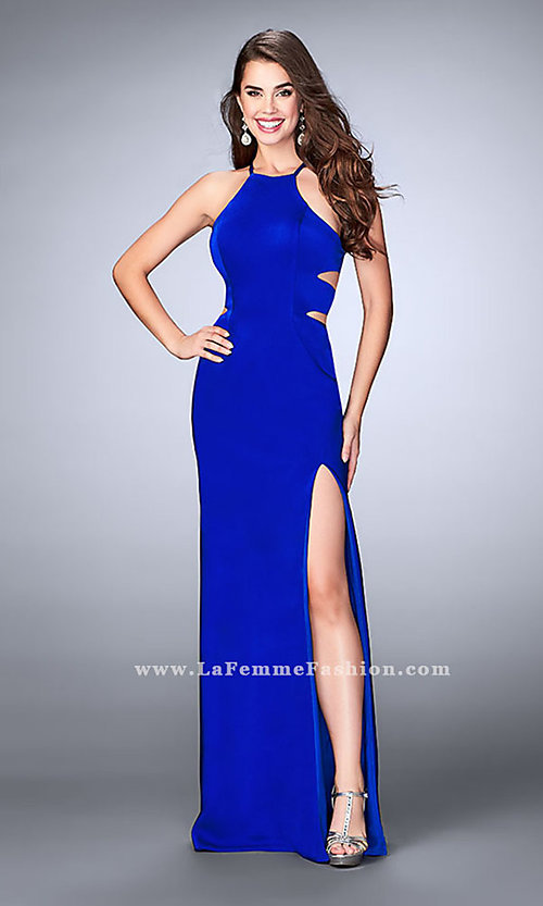 Image of open-back long formal dress with side cut outs. Style: LF-24380 Detail Image 1