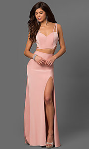 Image of two-piece long La Femme sweetheart prom dress. Style: LF-24030 Front Image