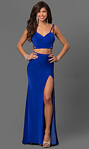 Image of two-piece long La Femme sweetheart prom dress. Style: LF-24030 Detail Image 1