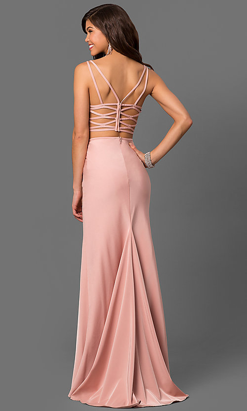 Image of two-piece long La Femme sweetheart prom dress. Style: LF-24030 Back Image
