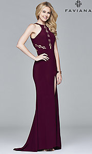 Image of open-back high-neck prom dress with cut outs.  Style: FA-7909 Detail Image 2