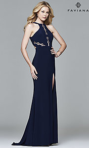 Image of open-back high-neck prom dress with cut outs.  Style: FA-7909 Detail Image 1