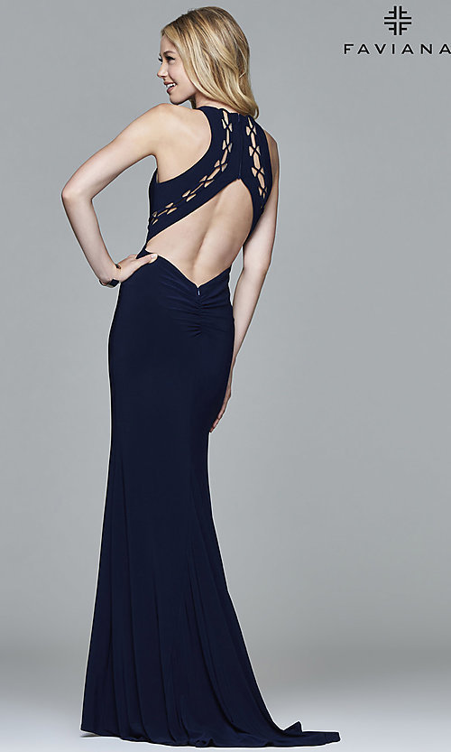 Image of open-back high-neck prom dress with cut outs.  Style: FA-7909 Back Image