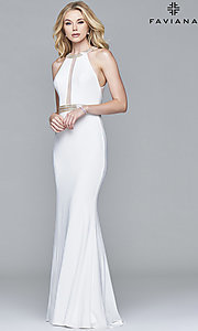 Image of sheer-back Faviana beaded-waist long formal dress. Style: FA-7910 Detail Image 1