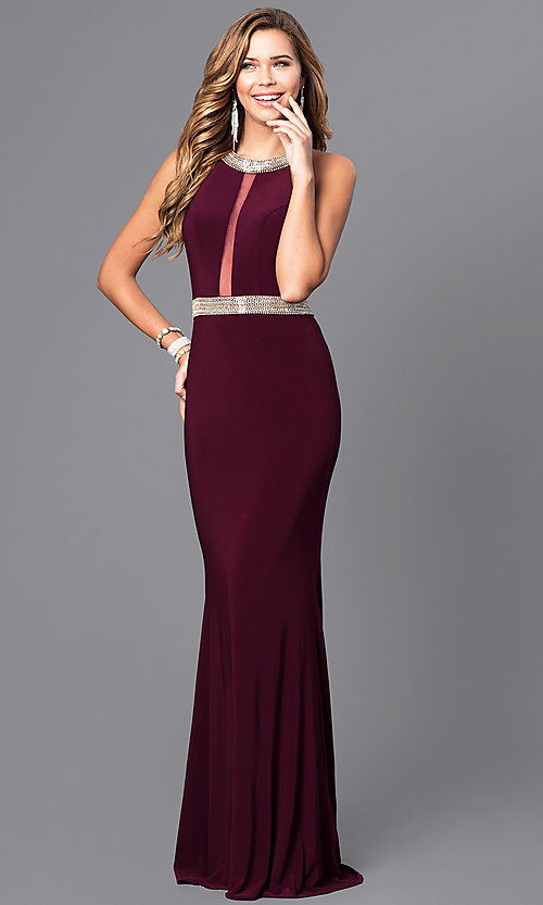 Image of sheer-back Faviana beaded-waist long formal dress. Style: FA-7910 Front Image
