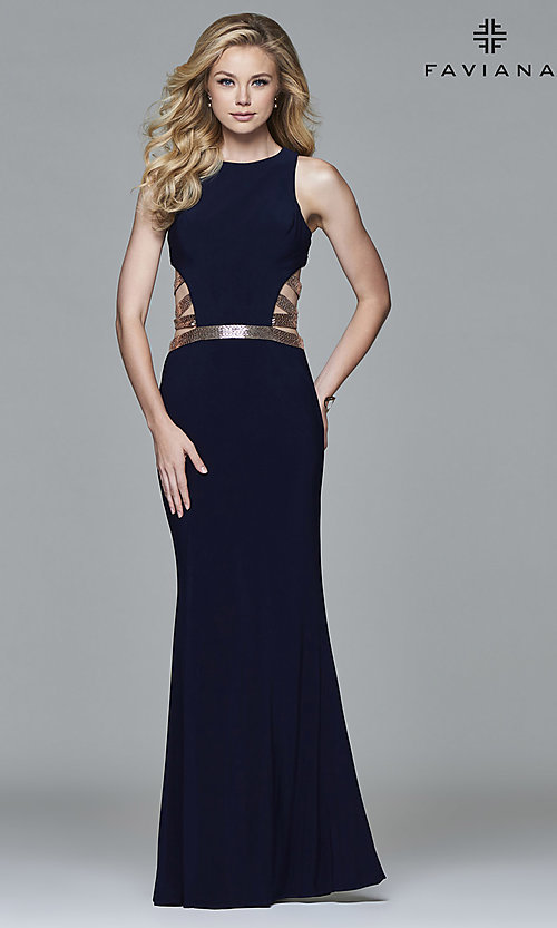 Image of Faviana floor-length formal dress with sequins. Style: FA-7912 Back Image
