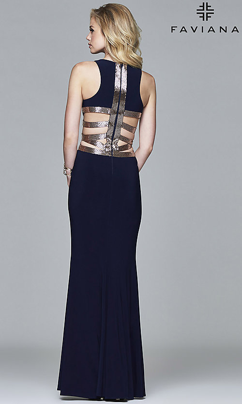 Image of Faviana floor-length formal dress with sequins. Style: FA-7912 Front Image