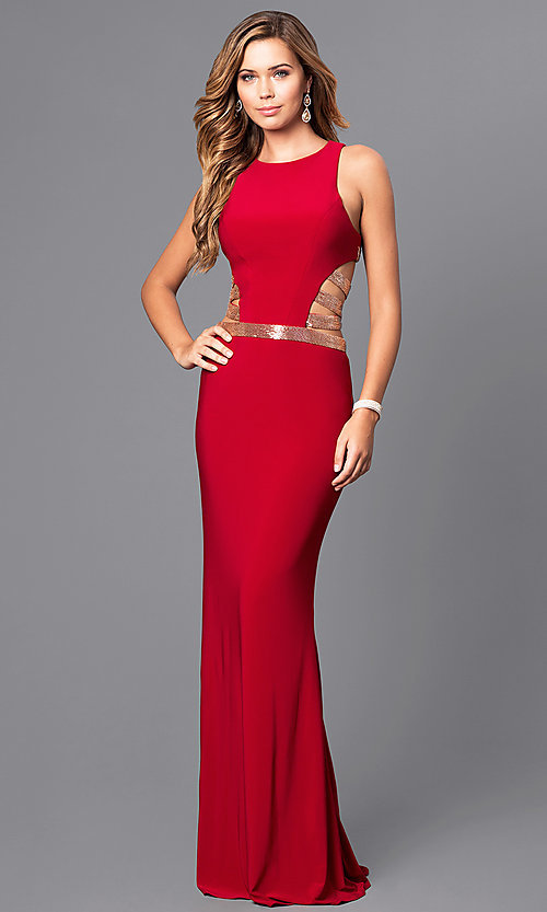 Image of Faviana floor-length formal dress with sequins. Style: FA-7912 Detail Image 1