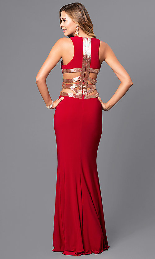 Image of Faviana floor-length formal dress with sequins. Style: FA-7912 Detail Image 2