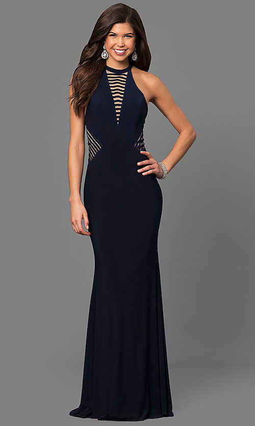 Image of long Faviana sleeveless formal prom dress. Style: FA-7919 Back Image