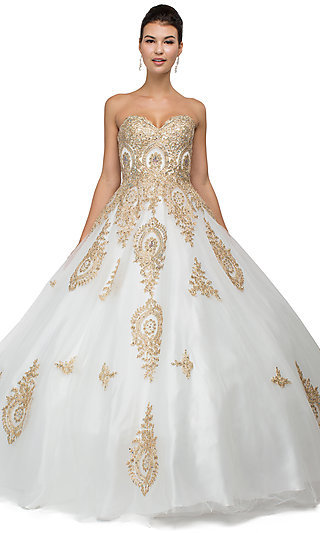 Floor Length Strapless Quinceanera Gown