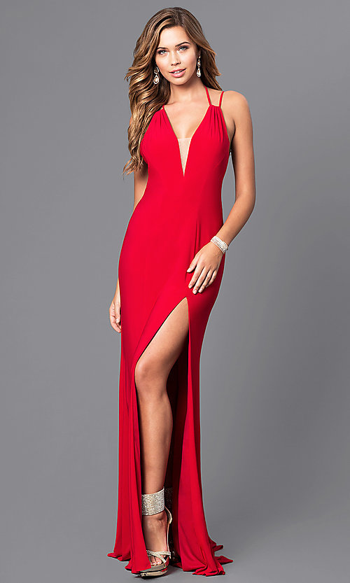 Image of multi-strap-back long formal dress by Faviana. Style: FA-7920 Back Image