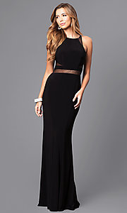 Image of Faviana long formal prom dress with sheer midriff. Style: FA-7921 Detail Image 1