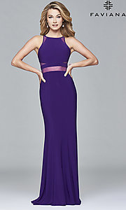 Image of Faviana long formal prom dress with sheer midriff. Style: FA-7921 Detail Image 3