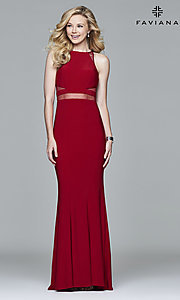 Image of Faviana long formal prom dress with sheer midriff. Style: FA-7921 Front Image