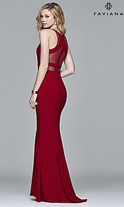 Image of Faviana long formal prom dress with sheer midriff. Style: FA-7921 Back Image