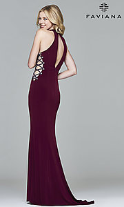Image of Faviana long formal dress with side cut outs. Style: FA-7931 Back Image