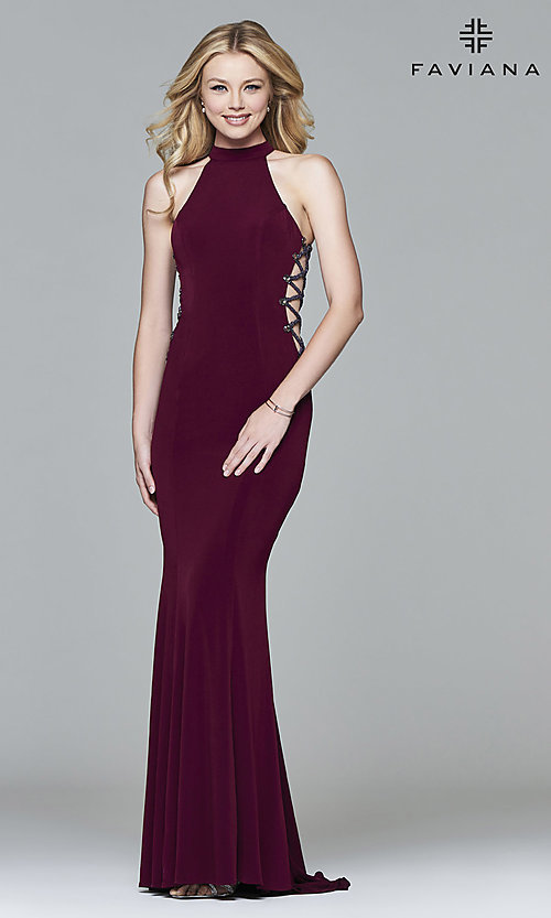 Image of Faviana long formal dress with side cut outs. Style: FA-7931 Front Image