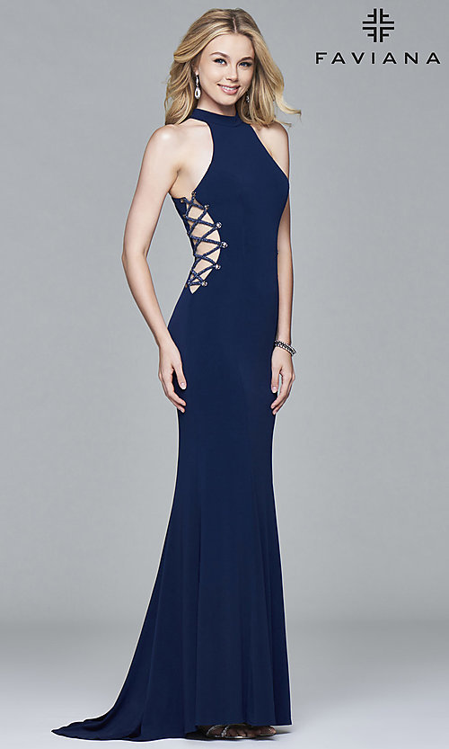 Image of Faviana long formal dress with side cut outs. Style: FA-7931 Detail Image 1