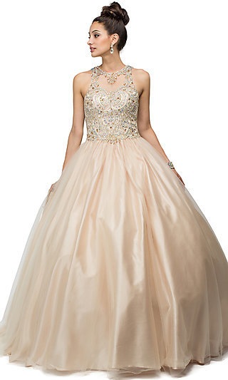 Sleeveless High Neck Quinceanera Gown